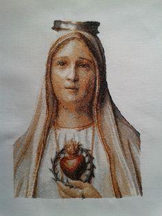 Retrato bordado de la Virgen de Fátima