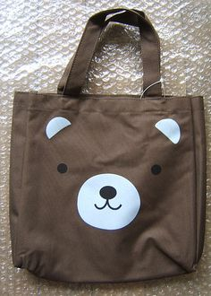KAWAII Brown Bear Animal FACE TOTE BAG PURSE~CUTE
