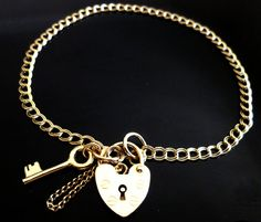 "9ct Solid Gold Double Curb Charm Key Padlock Ladies Bracelet 19cm's 7.5"" BR26,375, Gold Chain, Women Bracelet, Safety chain, Free Gift Pouch"