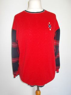 Vintage jumper sweater 80s by St Michael pure new wool red jumper plaid tartan sleeves size large to XL by BidandBertVintage on Etsy