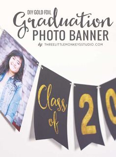 Graduation Banner Printable from Three Little Monkeys Studio via Shutterfly blog
