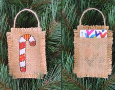 Giving a gift card or money? Dress it up with a unique handmade ornament! This 3 X 4 ornament will add that special touch to your rustic Christmas tree or make a special gift. The shabby chic ornament is hand cross stitched on burlap and filled with natural fibers. It has pouch on the back