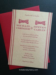 Wedding invitation Letterpress Craft paper Cranberry ink Bow ties