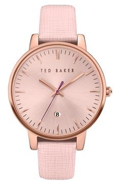 Free shipping and returns on Ted Baker London Leather Strap Watch 70ee1962aa1