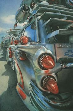 Sherry Tseng Hill. Art Car. Watercolor.