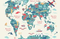 explorer kids world map mural wallpaper World Map Mural, Kids World Map, World Map Wallpaper, Kids Wallpaper, Bedroom Wallpaper, Playroom Wallpaper, Playroom Mural, Wallpaper Murals, Maps For Kids