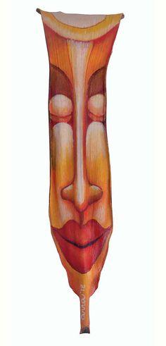 Sun Beam  original acrylic on palm frond by AnnaSkaradzinska, $95.00