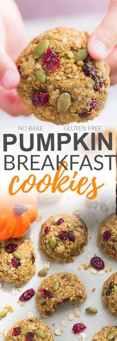 These Pumpkin Breakfast Cookies are the perfect easy breakfast for on the go. Best of all, this recipe is great if you feel like a no bake cookie when it's too hot to turn on the oven or you can bake them for 10 minutes for a warm treat. They're also loaded with pumpkin seeds, dried cranberries, cinnamon and pumpkin pie spice and totally scream fall. Plus they're gluten free, made with no butter and are super easy to customize with your favorite add-ins.