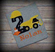 GRAY dump truck construction applique birthday shirt with cone, first birthday, second birthday, third birthday, fourth birthday