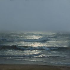 Oil Painting. Beach. Seascape. Landscape.  Title: Ocean Fog. The sun was just starting to brake through the morning fog. By Phil Courtney
