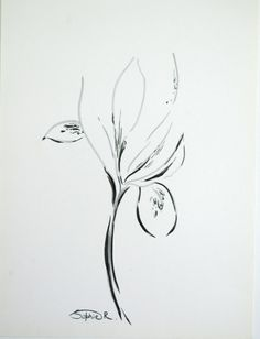 Iris Flower  Original Abstract Drawing Floral Wall by CanotStop, $40.00