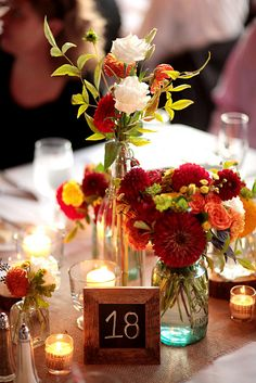 Colorful Rustic Centerpiece at the Hobbs Building