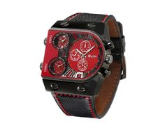 Oulm Brand Luxury Men Casual Leather Strap Quartz-Watch Mens Military Wristwatch Male Sports Clock