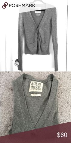 Cashmere cardigan Grey cashmere women's cardigan from Ruehl. Size m. Worn a few times. Ruehl No. 925 Sweaters Cardigans