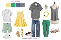 what to wear for family photos | Fresh color combo yellow, green, blue and grey