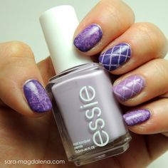 #31DC2013 Day 06: Violet Nails - base coat of @essie Nice is Nice (LOVE) on all nails, then used Sinful Colors Amethyst on most nails using the saran wrap technique, and also used striping tape on the middle finger. Used @Cult Nails Love at First Sight on the ring finger with striping tape and as the second layer of saran wrap technique on my index finger. Something went wrong with the topcoat, though, so this mani didn't stay on my nails long.. sad day!