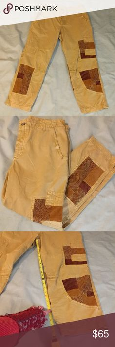 Free People Patchwork Chinos Awesome GUC rare tapered high waters with a high waist. Mustard yellow denim with reds and browns, Paisley, circuits corduroy, and velvet patches. Some inconsistencies but bought them that way. Measurements in photos, lmk if you have any further questions! Free People Pants Ankle & Cropped