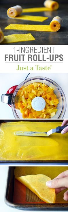Healthy Homemade Mango Fruit Roll-Ups. Only one ingredient is needed for these fruit roll-ups: actual fruit! Pin this clean eating recipe now to make for a sweet snack later. Baby Food Recipes, Snack Recipes, Cooking Recipes, Healthy Recipes, Cooking Kids, Jello Recipes, Kid Recipes, Whole30 Recipes, Vegetarian Recipes