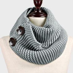 Knit Henley Scarf in Ashen