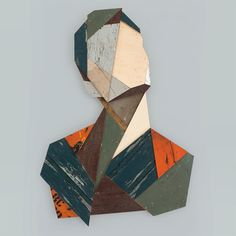 Enormous geometric portraits made from reclaimed wood by Strook | DesignFaves