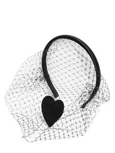 RED VALENTINO - HEART PATCH ON SATIN HEADBAND WITH VEIL - LUISAVIAROMA - LUXURY SHOPPING WORLDWIDE SHIPPING - FLORENCE