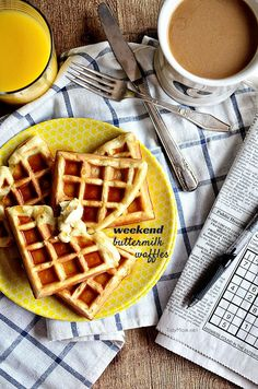 Weekend Buttermilk Waffles recipe that are perfectly crispy on the outside, light and airy inside, and full of flavor all around at TidyMom.net