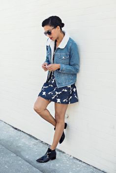 that collar tho? » STYLE ME GRASIE - printed set // denim jacket // jacket with faux collar // ootd // patent boots // blogger // street style // vintage sunglasses
