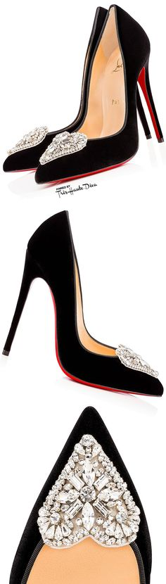 Très Haute Diva ♔ Christian #Louboutin #Cristacora Black Suede Pumps with Crystal Heart Embellishment