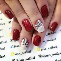 Risultati immagini per unhas decoradas Matte Nails Glitter, Lace Nails, Red Nails, Hair And Nails, Remove Acrylic Nails, Wedding Acrylic Nails, Mandala Nails, Tribal Nails, Fabulous Nails