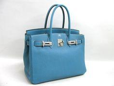 AUTH HERMES Veau Crispe Togo Blue Jean Birkin 30 Hand Bag Hardware Sliver | eBay