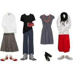 Red, white, black, gray travel set