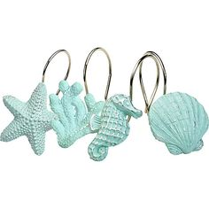 India Ink home accessories bring classic style and traditional aesthetics to your home. This set of shower hooks adds a coastal atmosphere to your home. Features a collection of shells, starfish, and seahorses. 12 hooks measure 4''W x 3''L x 8''H.