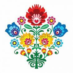 Haft ludowy z kwiatami - tradycyjny polski wzór Zdjęcie Seryjne - 18714534