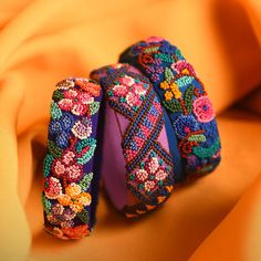 Silk Thread Bangles Design, Silk Bangles, Bridal Bangles, Thread Jewellery, Beaded Jewelry Patterns, Fabric Jewelry, Flower Embroidery Designs, Textiles, Bracelets