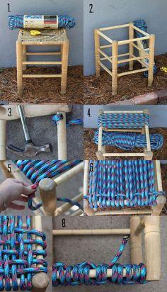 Cómo trasformar un taburete viejo en nuevo con cuerdas de nylon paso a paso. Ideas para reutilizar las banquetas en lugar de tirarlas poniéndolas cuerdas.