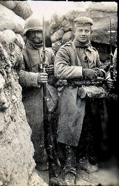WWI, 1916; Preparing for another winter in the trenches.