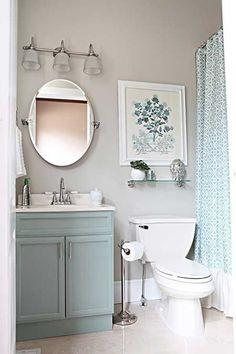 Awesome Bathroom Design Ideas Blue and gray small bathroom ideas. Love this color combination in a bathroom.Blue and gray small bathroom ideas. Love this color combination in a bathroom. Office Bathroom, Pool Bathroom, Master Bathroom, Bathroom Small, Bathroom Storage, Bathroom Interior, Bathroom Shelves, White Bathroom, Downstairs Bathroom