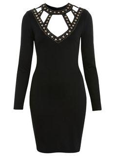 $114.  Demure, but dangerous!  Embellished cutout ponti dress from Miss Selfridge.  English rocker style.