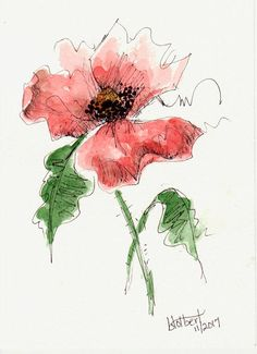 """Original artwork of a single lovely red poppy flower with two green leaves rendered in pen, ink and watercolor. The poppy watercolor is painted with a mixture of warm and cool reds that makes it stand out against the white background. It is titled """"Poppy With Two Leaves"""" and is"""