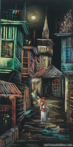 Oil paintings , Iraqi neighborhood at Night , لوحات زيتية بغداديات