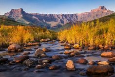 The Drakensburg Mountains stretch the entire length of… Namibia, Kwazulu Natal, Landscape Photography, Landscape Photos, Watercolor Landscape, Beautiful World, The Great Outdoors, Wonders Of The World, South Africa