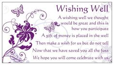 24 WISHING WELL CARDS for wedding invitation purple butterfly in well poem gloss | eBay