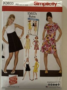 cb09e7eb45e7 Details about Simplicity K3833 1960 s Retro Dress s Pattern New Unopened  Uncut Size US 14-22