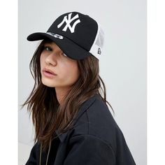 New Era New York Trucker Cap ($29) ❤ liked on Polyvore featuring accessories, hats, black, braid crown, snapback baseball caps, new era hats, snap back hats and american trucker hat