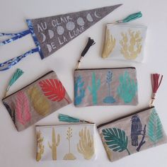 Amelie Mancini Stencil Painting, Fabric Painting, Fabric Art, Hand Printed Fabric, Printing On Fabric, Fabric Paint Designs, Pouch Bag, Pouches, Creative Textiles