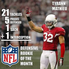 #AZCardinals safety #TyrannMathieu has been named #nfl Defensive Rookie of the Month! #HoneyBadger! @Gene Lower / Slingshot Photography #azlottery #photooftheday #lsu