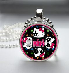 Kiss Hello Kitty Necklace Hello Kitty Pendant Hello Kitty Jewelry Glass Cabochon Bezel Art Photo Pendant JP542 on Etsy, $8.00
