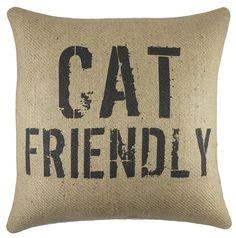 Cat Friendly Burlap Throw Pillow