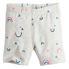 Toddler Girl Jumping Beans® Rainbow Bike Shorts | Kohls Rainbow Bike, Baby Girl Pants, Jumping Beans, Rainbow Print, These Girls, Patterned Shorts, Toddler Girl, Printing On Fabric, Kohls