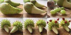 Almuerzo - Cena - Pijama Party de niños en tu casa? :) :P Acá una idea genial para hacer que en lugar de comer golosinas, coman fruta!! Erizos con peras, y brochetas con uvas, frutillas o trocitos de otras frutas también sirve.Deco comestible. :F - @loly_